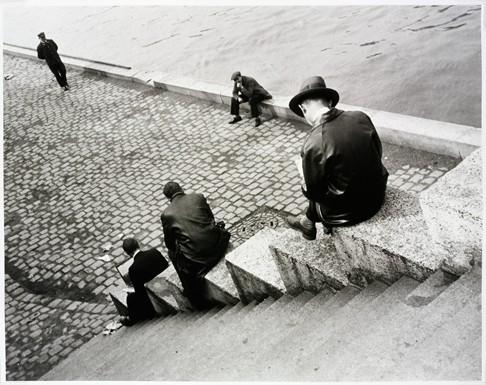 Three Men On Steps By The Siene (Ilse Bing